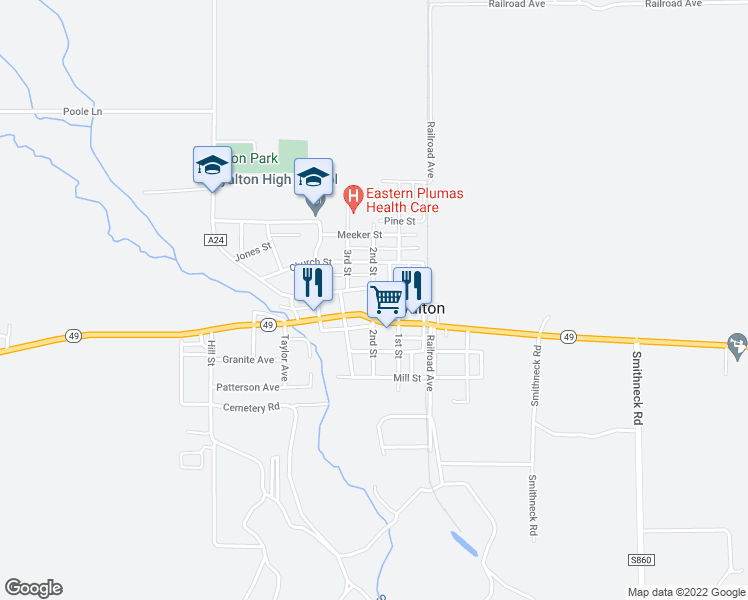 map of restaurants, bars, coffee shops, grocery stores, and more near 411 2nd Street in Loyalton