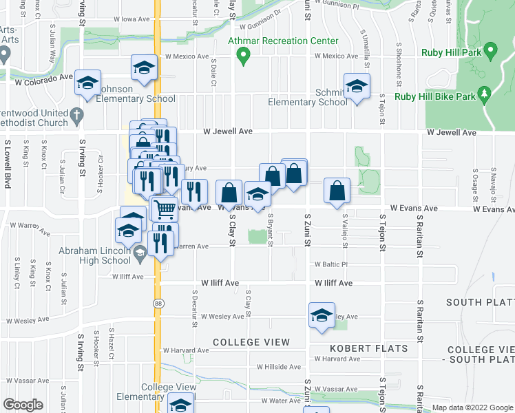 map of restaurants, bars, coffee shops, grocery stores, and more near 2100 South Clay Street in Denver