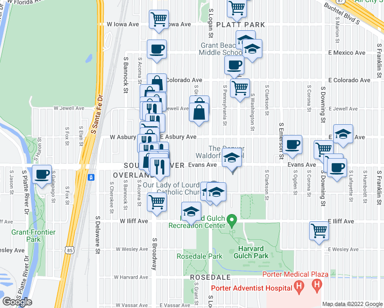 map of restaurants, bars, coffee shops, grocery stores, and more near 2059 South Grant Street in Denver