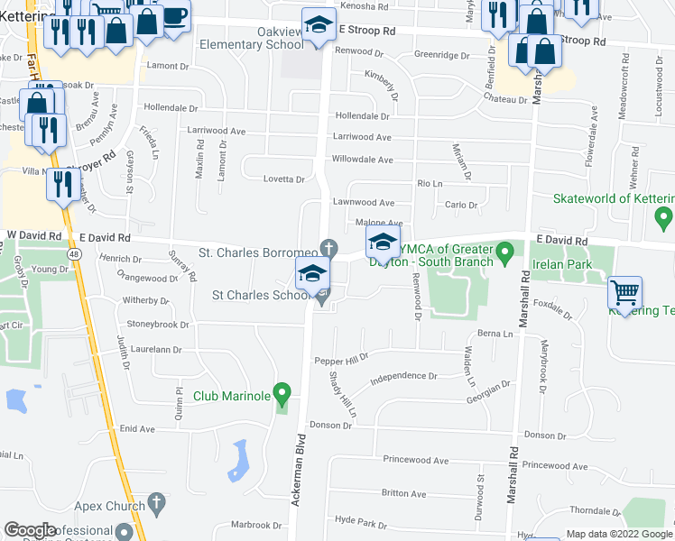 map of restaurants, bars, coffee shops, grocery stores, and more near 5531 Far Hills Avenue in Dayton