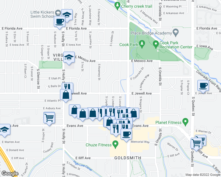 map of restaurants, bars, coffee shops, grocery stores, and more near 1875 South Linden Way in Denver