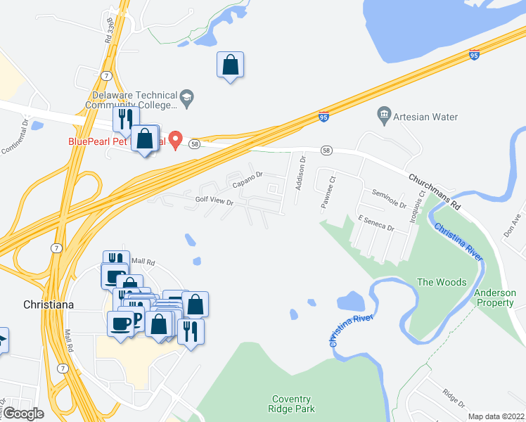 map of restaurants, bars, coffee shops, grocery stores, and more near 24 Golf View Drive in Newark