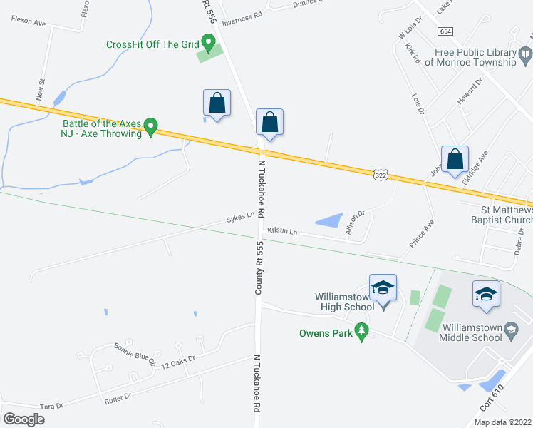 map of restaurants, bars, coffee shops, grocery stores, and more near North Tuckahoe Road in Monroe Township