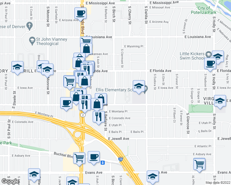 map of restaurants, bars, coffee shops, grocery stores, and more near 1600-1632 South Birch Street in Denver