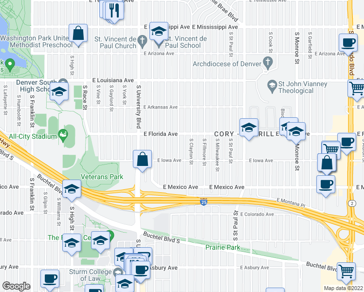 map of restaurants, bars, coffee shops, grocery stores, and more near 1544 South Elizabeth Street in Denver