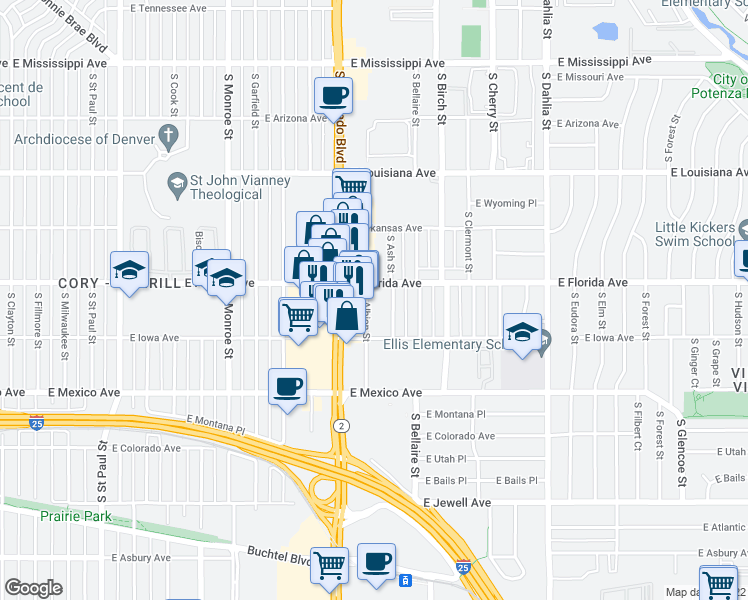 map of restaurants, bars, coffee shops, grocery stores, and more near 1520 South Albion Street in Denver