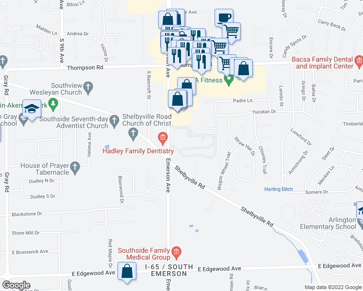 map of restaurants, bars, coffee shops, grocery stores, and more near 5140 Emerson Village Place in Indianapolis