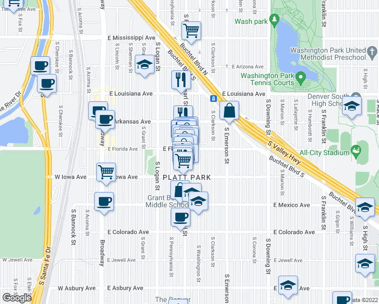map of restaurants, bars, coffee shops, grocery stores, and more near 1500 South Pearl Street in Denver