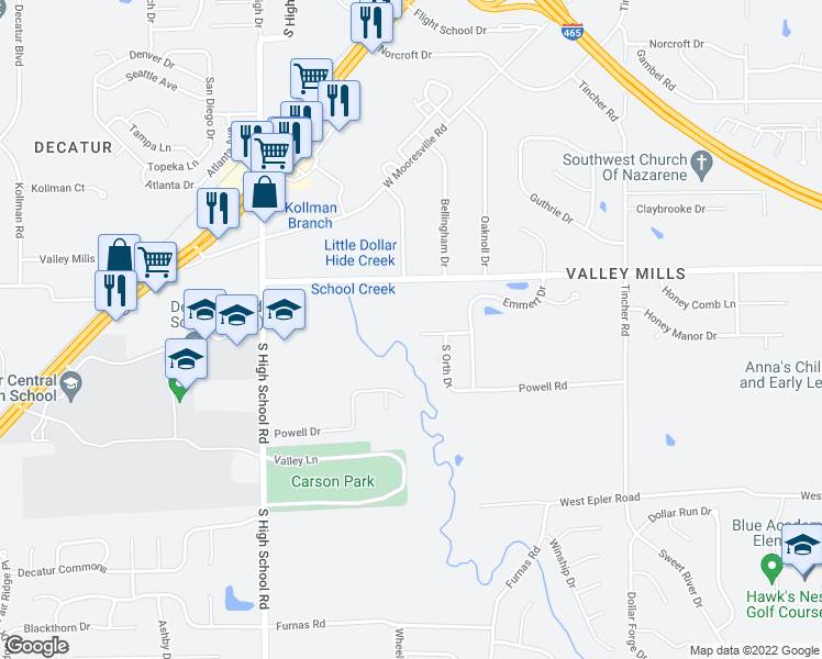 map of restaurants, bars, coffee shops, grocery stores, and more near 5852 Emmert Way in Indianapolis
