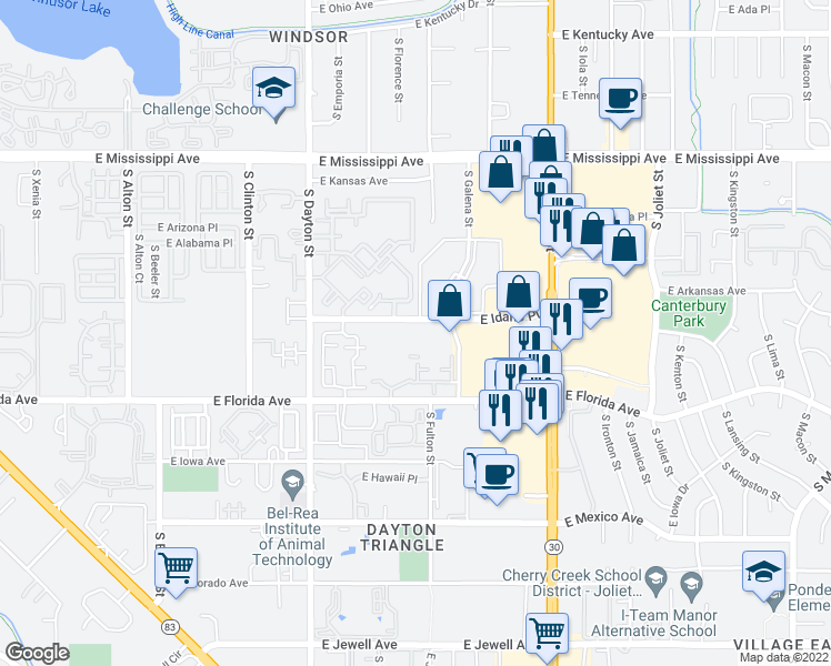 map of restaurants, bars, coffee shops, grocery stores, and more near 1435 South Galena Way in Denver