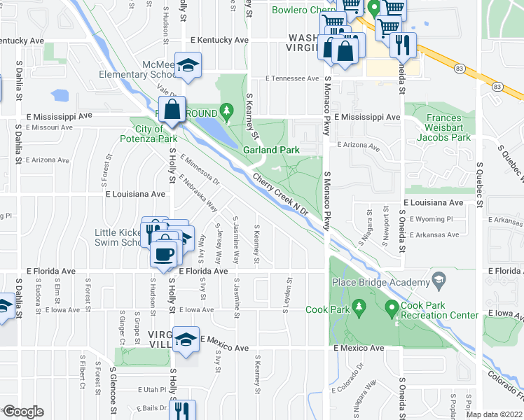 map of restaurants, bars, coffee shops, grocery stores, and more near 6105 East Minnesota Drive in Denver