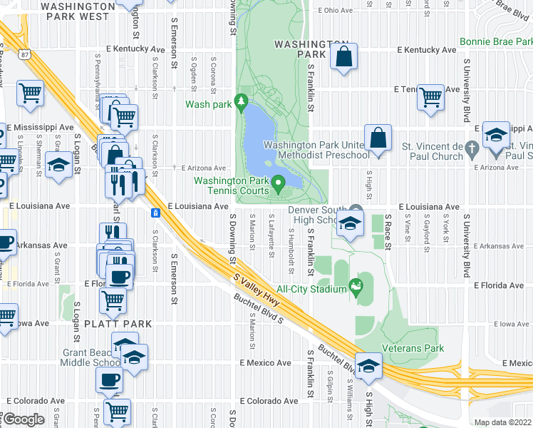 map of restaurants, bars, coffee shops, grocery stores, and more near 1315 South Lafayette Street in Denver