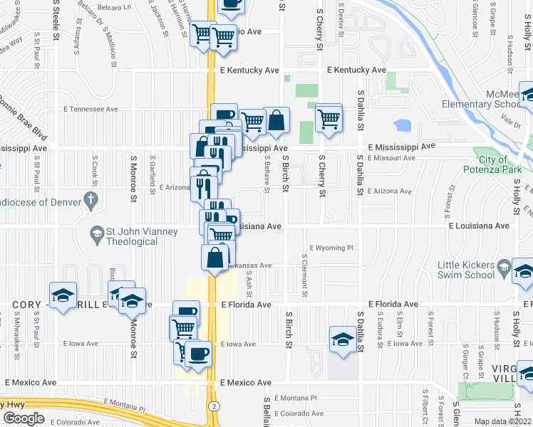map of restaurants, bars, coffee shops, grocery stores, and more near 1255 South Bellaire Street in Denver