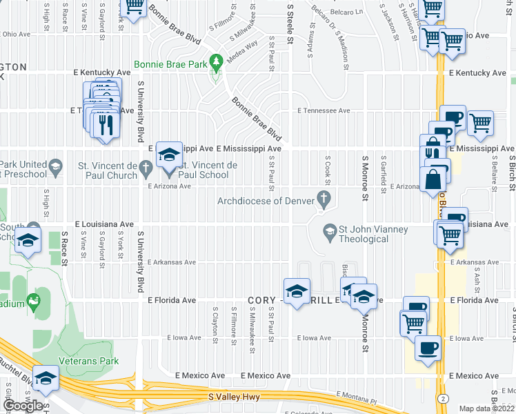 map of restaurants, bars, coffee shops, grocery stores, and more near 1250 South Milwaukee Street in Denver