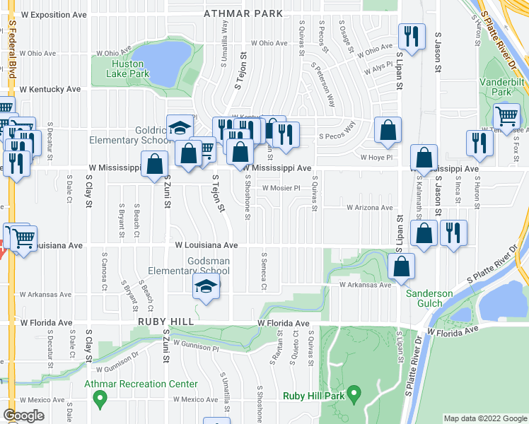 map of restaurants, bars, coffee shops, grocery stores, and more near S Seneca Way in Denver