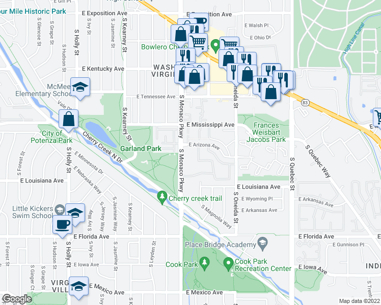 map of restaurants, bars, coffee shops, grocery stores, and more near 1200 South Monaco Parkway in Denver