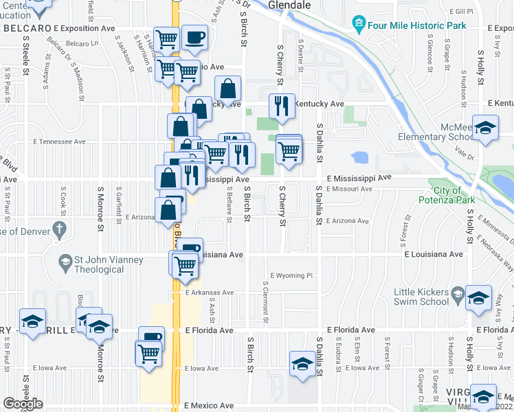 map of restaurants, bars, coffee shops, grocery stores, and more near 1150 South Birch Street in Denver