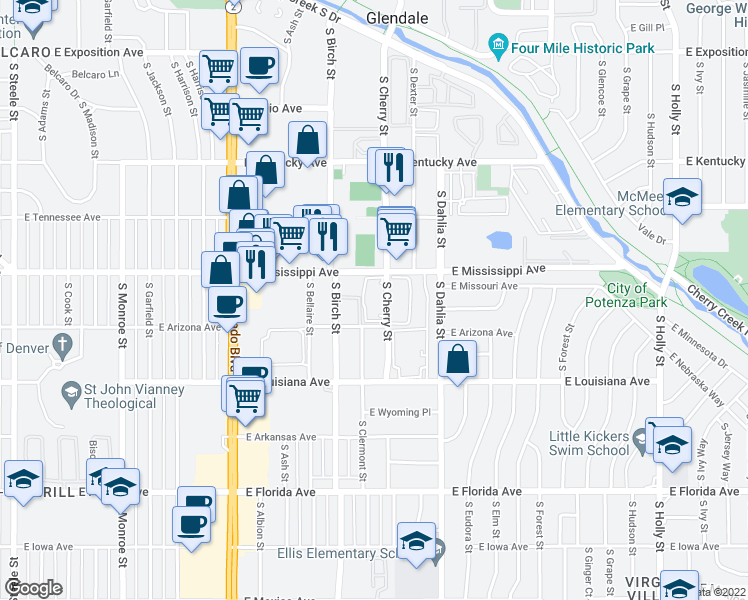 map of restaurants, bars, coffee shops, grocery stores, and more near 1105 South Cherry Street in Denver