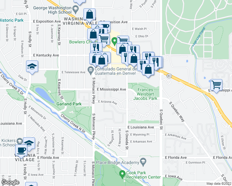 map of restaurants, bars, coffee shops, grocery stores, and more near 6790 East Mississippi Avenue in Denver