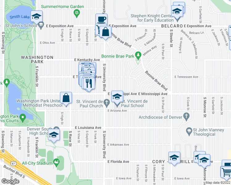 map of restaurants, bars, coffee shops, grocery stores, and more near 1090 South Josephine Street in Denver