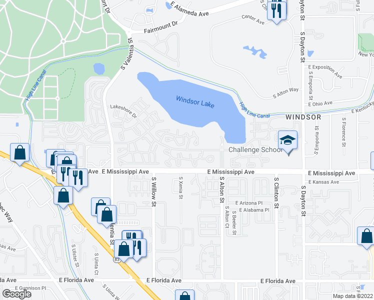 map of restaurants, bars, coffee shops, grocery stores, and more near Lakeshore Drive in Denver