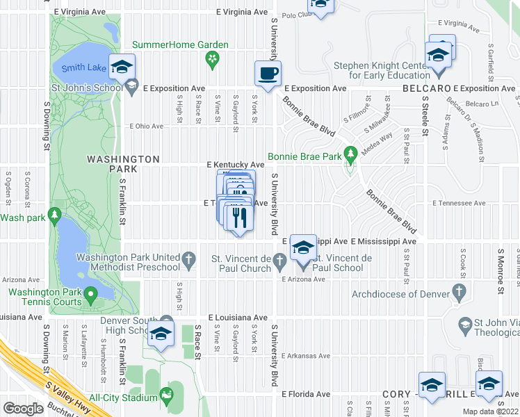 map of restaurants, bars, coffee shops, grocery stores, and more near 1010 South York Street in Denver
