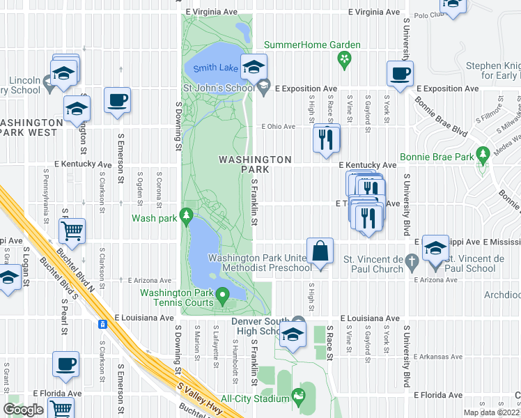 map of restaurants, bars, coffee shops, grocery stores, and more near 1010 South Franklin Street in Denver