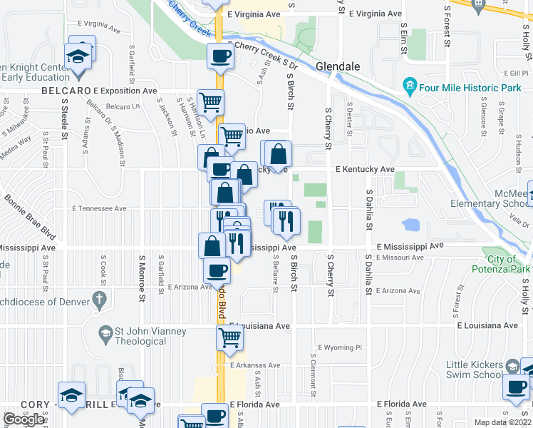 map of restaurants, bars, coffee shops, grocery stores, and more near 1017 South Birch Street in Denver