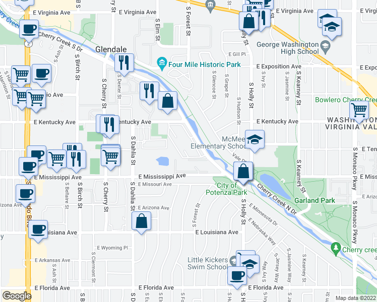 map of restaurants, bars, coffee shops, grocery stores, and more near 5252-5262 Cherry Creek Drive South in Denver