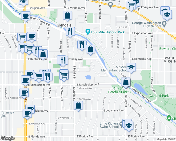 map of restaurants, bars, coffee shops, grocery stores, and more near 4858 East Kentucky Avenue in Denver