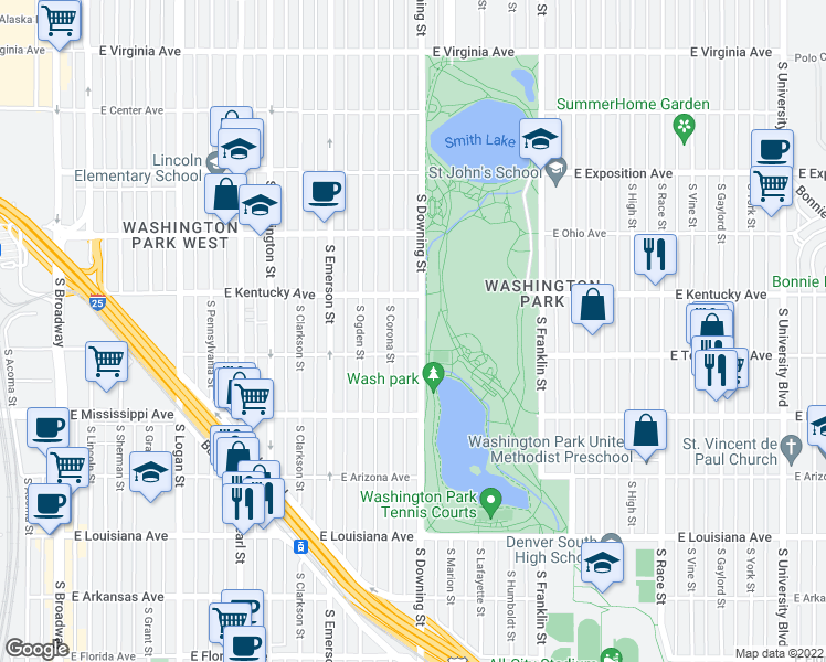 map of restaurants, bars, coffee shops, grocery stores, and more near 959 South Downing Street in Denver