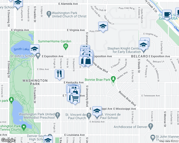 map of restaurants, bars, coffee shops, grocery stores, and more near 810 S University Blvd in Denver