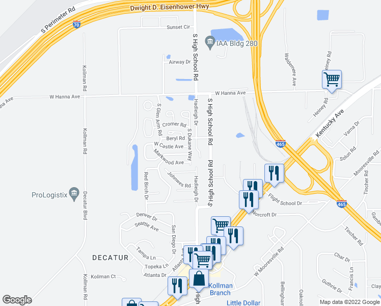 map of restaurants, bars, coffee shops, grocery stores, and more near 4200-4298 Hadleigh Drive in Indianapolis