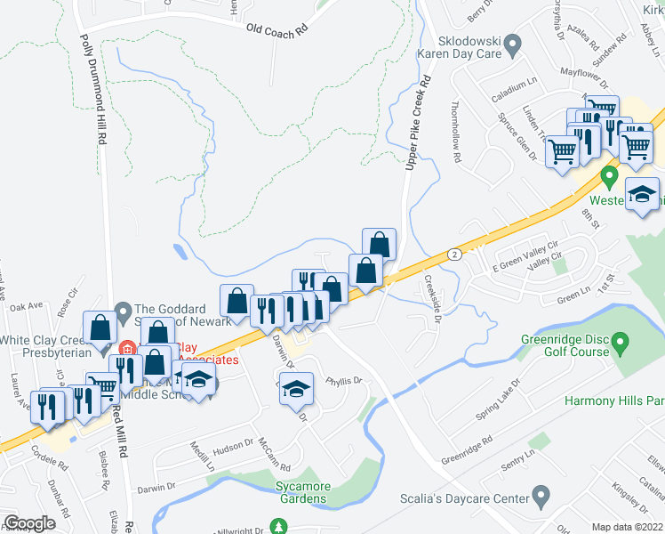 map of restaurants, bars, coffee shops, grocery stores, and more near 119 Richards Lane in Newark