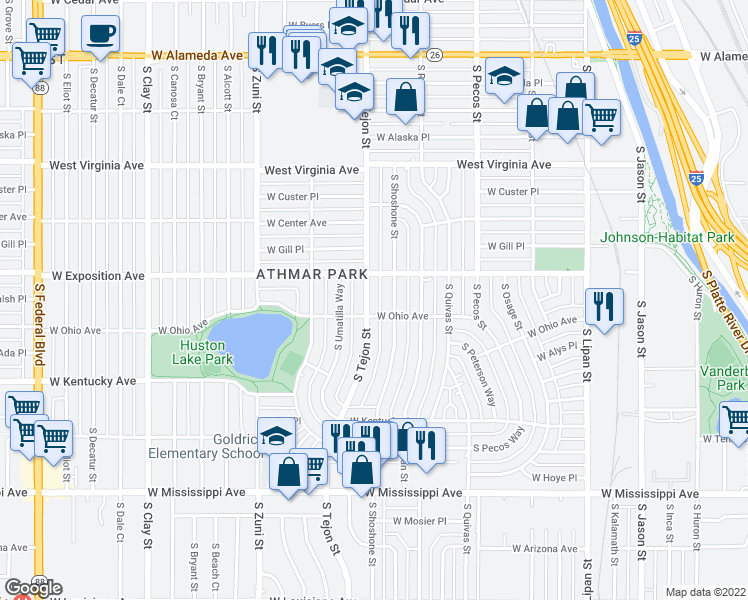 map of restaurants, bars, coffee shops, grocery stores, and more near 740 South Tejon Street in Denver