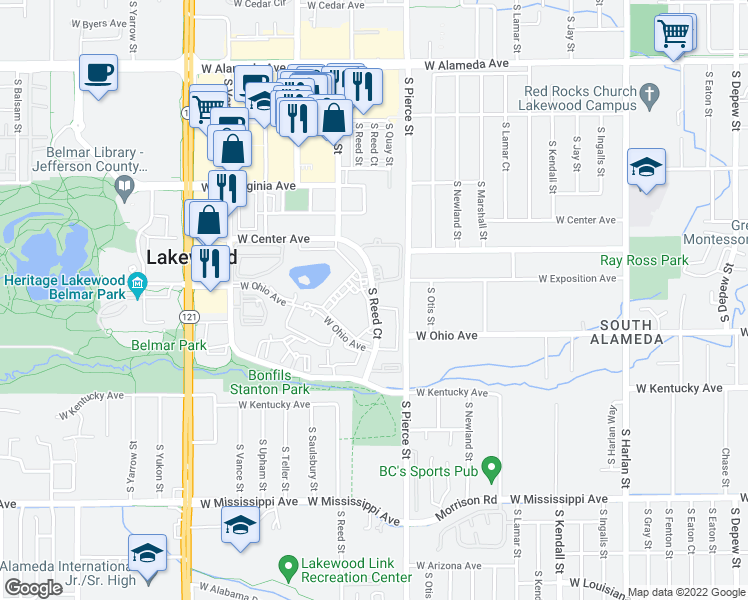 map of restaurants, bars, coffee shops, grocery stores, and more near 700 South Reed Court in Denver