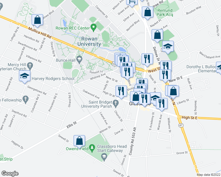 map of restaurants, bars, coffee shops, grocery stores, and more near 316 Victoria Street in Glassboro