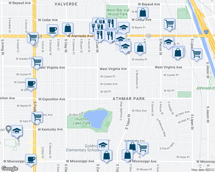 map of restaurants, bars, coffee shops, grocery stores, and more near 2230 West Center Avenue in Denver