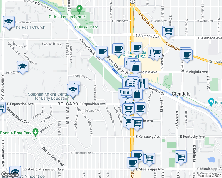 map of restaurants, bars, coffee shops, grocery stores, and more near 580 South Harrison Lane in Denver