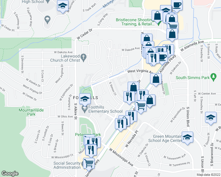 map of restaurants, bars, coffee shops, grocery stores, and more near 559 South Xenon Court in Lakewood