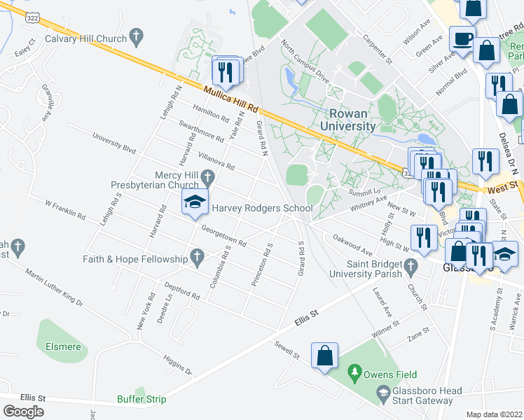 map of restaurants, bars, coffee shops, grocery stores, and more near 110 University Boulevard in Glassboro