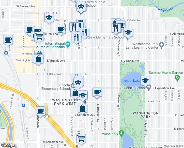 map of restaurants, bars, coffee shops, grocery stores, and more near S Clarkson St & E Center Ave in Denver