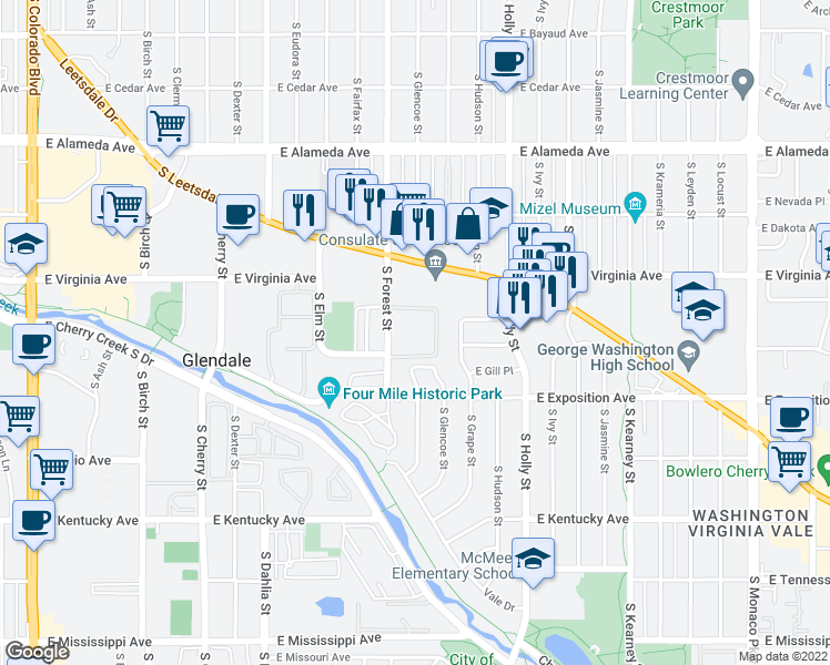 map of restaurants, bars, coffee shops, grocery stores, and more near 888 South Dexter Street in Denver