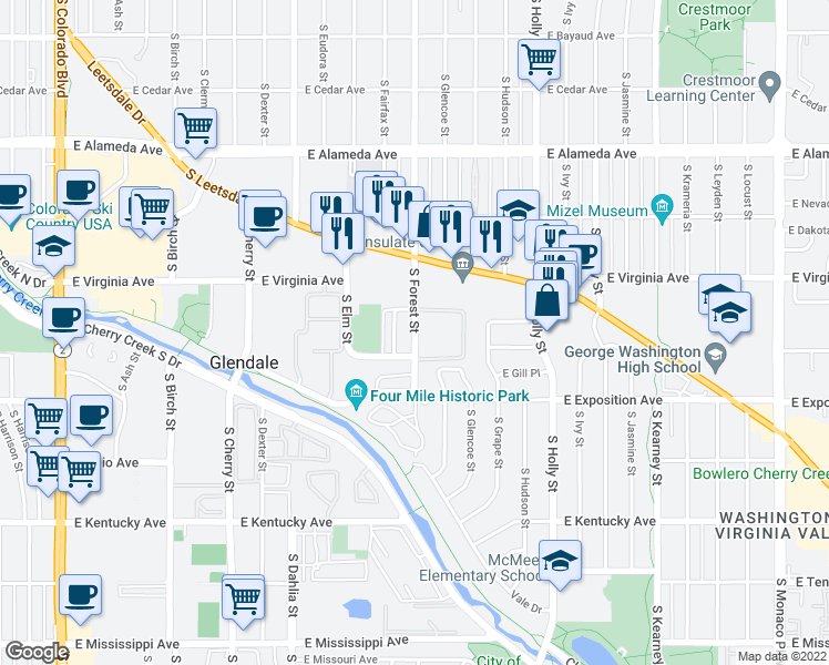 map of restaurants, bars, coffee shops, grocery stores, and more near East Custer Place in Denver