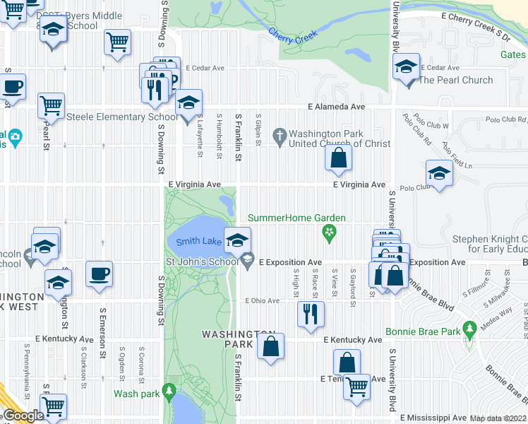 map of restaurants, bars, coffee shops, grocery stores, and more near 568 South Gilpin Street in Denver