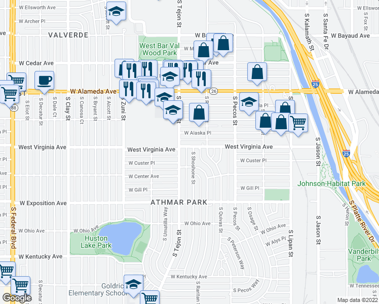 map of restaurants, bars, coffee shops, grocery stores, and more near 515 South Shoshone Street in Denver