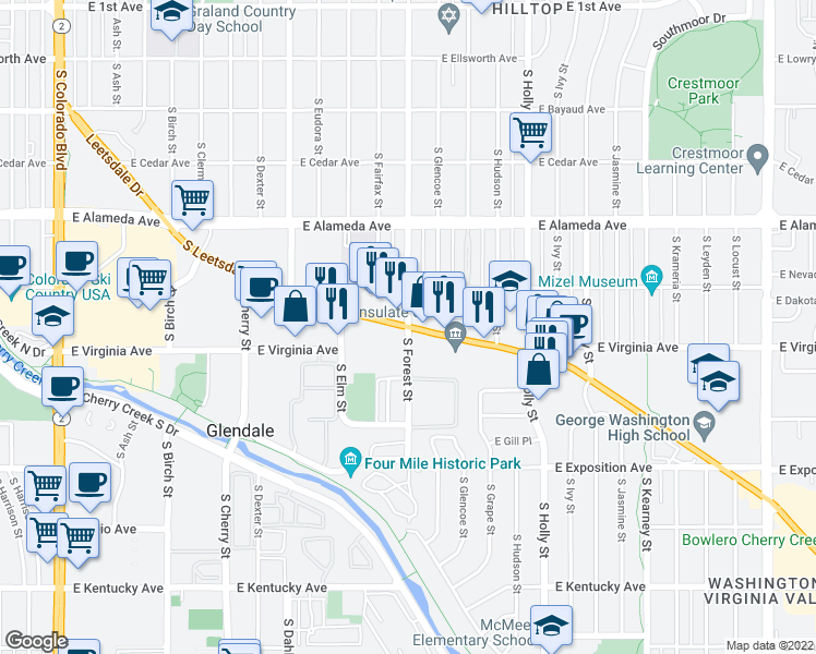 map of restaurants, bars, coffee shops, grocery stores, and more near Leetsdale Drive & South Forest Street in Denver
