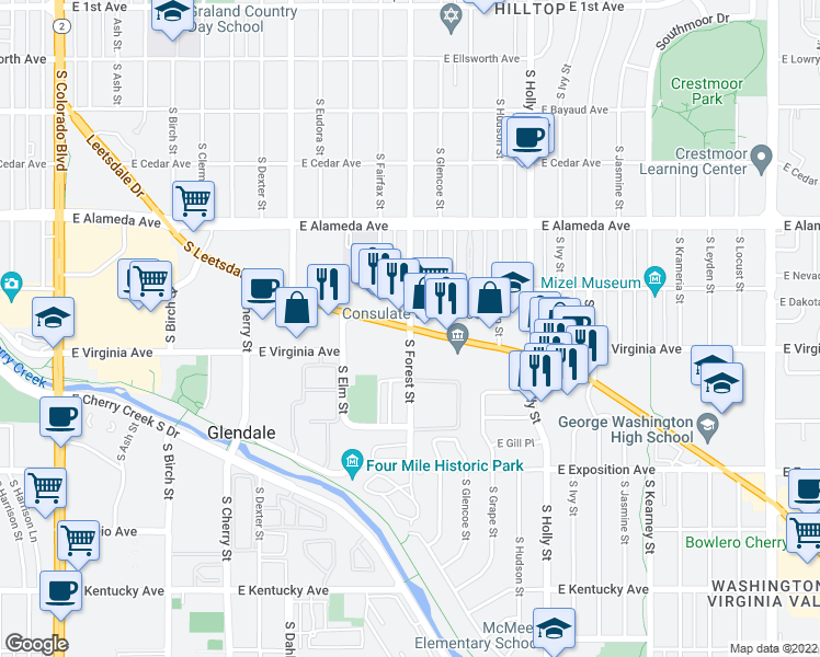 map of restaurants, bars, coffee shops, grocery stores, and more near Leetsdale Dr & S Forest St in Denver