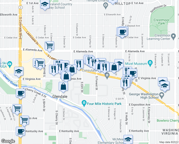map of restaurants, bars, coffee shops, grocery stores, and more near 5080 Leetsdale Drive in Denver