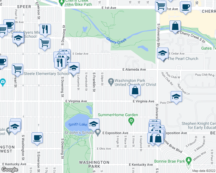 map of restaurants, bars, coffee shops, grocery stores, and more near 401 South Williams Street in Denver